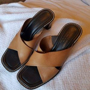 Donald J pliner viky tan strap heel slides